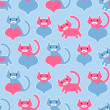 Cute seamless pattern with kittens and hearts — Stock Vector