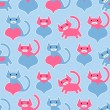 Cute seamless pattern with kittens and hearts — Stock Vector #41581195