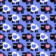 Seamless pattern with cute sheep — Stock Vector