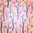 Stock Vector: Romantic pink seamless pattern with trees