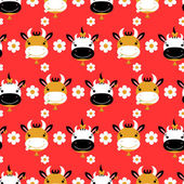 Seamless pattern with cute cartoon cows — Stock Vector
