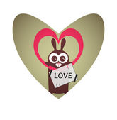 Valentine card design with cute bunny — Vettoriale Stock