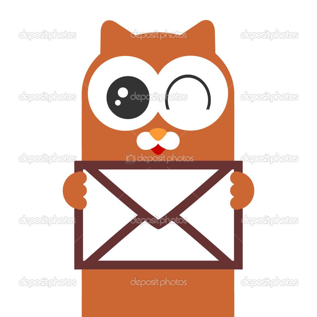 可爱的卡通猫咪拿着封信