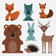 Stock Vector: Cute wild animals