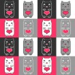 Cute kittens and hearts — Stock Vector