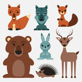 Cute wild animals — Stock Vector