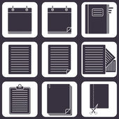 Icons with documents — Stock Vector