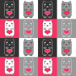 Seamless pattern with cute kittens and hearts — Stock Vector