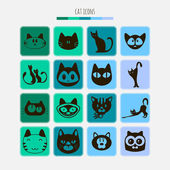 Set of cat icons — Stock Vector