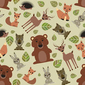 Seamless pattern with cute wild animals — Stock Vector