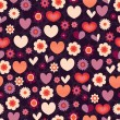Pattern with flowers and hearts — Stock Vector