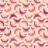 Pattern with tropical butterflies silhouettes — Vecteur