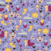 Cute little kittens seamless pattern — 图库矢量图片