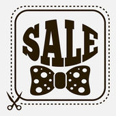 Vintage sale label with stylish bow-tie — Vector de stock