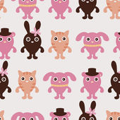 Pattern with cute animals — Vettoriale Stock