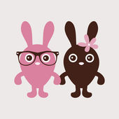 Cute couple of bunnies — Vector de stock