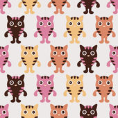 Pattern with cute kittens — Vector de stock