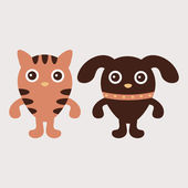 Illustration of kitty and puppy friends — Vecteur