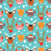 Pattern with adorable animal faces — Stock Vector