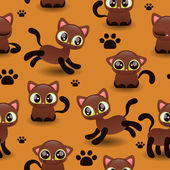 Pattern with cute little kittens — Stock Vector
