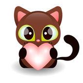 Kitty tenant un coeur — Vecteur