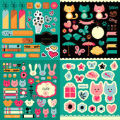 Set of scrapbook elements — Stock Vector
