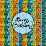 Happy birthday card wiyh cats — Stock Vector