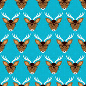 Pattern with  deer in glasses — Stock Vector