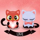 Romantik iki yavru kedi — Stok Vektör