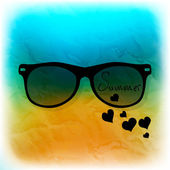 Sunglasses on   beach background — Stockvektor