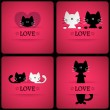Romantic cards with cats — Stock Vector