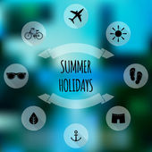 Summer holidays flat icons — Stock Vector