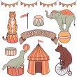 Cute circus animals set — Stock Vector #48792309