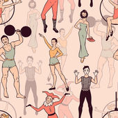 Seamless pattern with circus performers — Vecteur