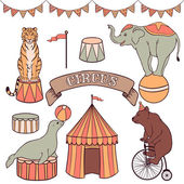 Cute circus animals set — Stockvektor