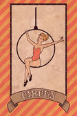 Vintage circus illustration, acrobat girl — Stock Vector