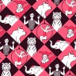 Постер, плакат: Seamless pattern with circus performers