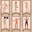 Vintage circus characters set — Stock Vector #49365121