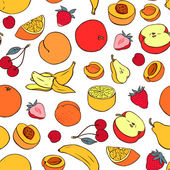 Seamless pattern with various fruit — Stock Vector