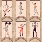 Vintage circus characters set — Stock Vector