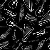 Musical instruments pattern — Stock Vector