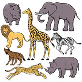 African animals set — Stockvector