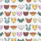 Cute animal faces pattern — Stock Vector