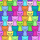 Colorful cartoon kittens pattern — Stock Vector