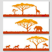 African nature and animals silhouettes — 图库矢量图片
