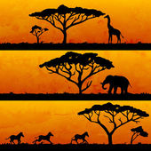 African nature and animals silhouettes — Vector de stock