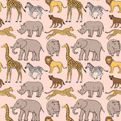 African animals pattern — Vettoriale Stock