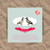 Valentine card with cute birds — Stok Vektör