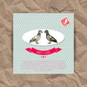 情人节卡与可爱的鸟 — 图库矢量图片