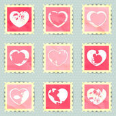 Vintage stamps with hearts — Stok Vektör